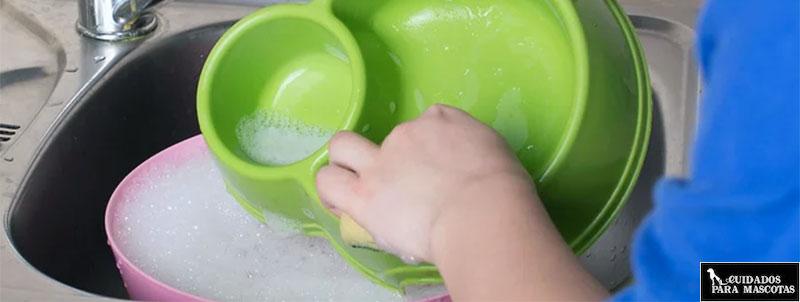Lavar el comedero de tu mascota a mano